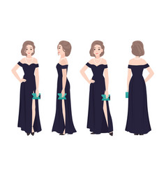 beautiful woman with elegant hairstyle wearing vector image