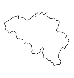 belgium map of black contour curves of vector image