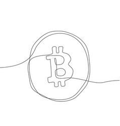 bitcoin - one line design style vector image