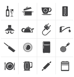 Black kitchen objects and accessories icons vector