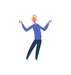 blond man character open arms gesture standing vector image
