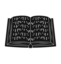 Book written in braille icon in black style vector
