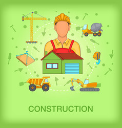 Building process concept worker cartoon style vector