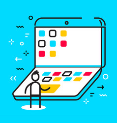 business of man working at the large laptop with vector image