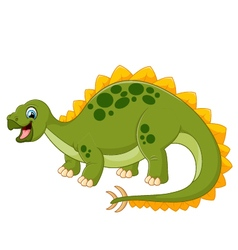 Cartoon happy dinosaur with white bankground vector