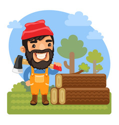 cartoon lumberjack with axe vector image
