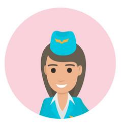 cheerful dark-haired stewardess in blue uniform vector image
