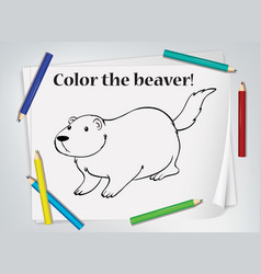 children beaver coloring worksheet vector image