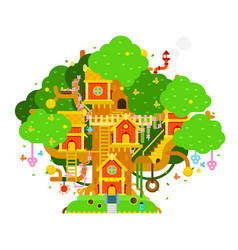 Children treehouse colorful vector