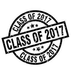 class of 2017 round grunge black stamp vector image