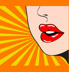 close up woman talking red sexy lips on bright vector image