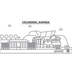 Colorado aurora architecture line skyline vector