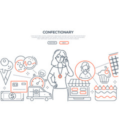 Confectionary - modern line design style web vector