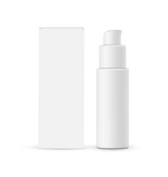 Cosmetic pump bottle with cardboard box mockup vector