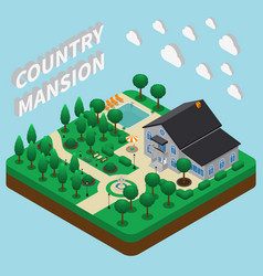 country mansion isometric composition vector image