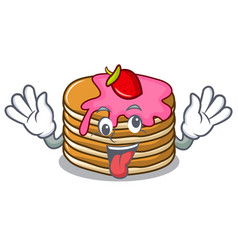Crazy pancake with strawberry mascot cartoon vector