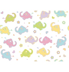 cute elephants flowers vector image