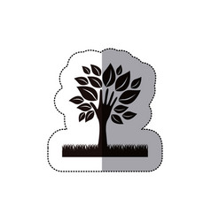 dark tree with leaves and grass icon vector image