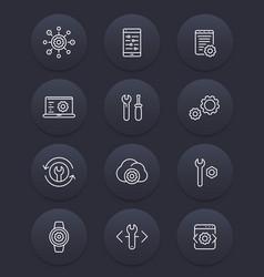 development settings configuration line icons vector image