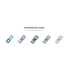 Disconnected chains icon in different style two vector