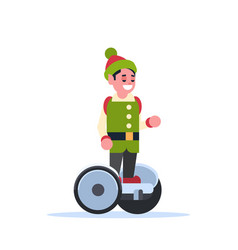 elf boy santa claus helper ride electric scooter vector image