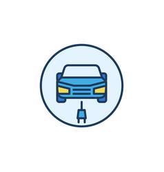 Ev with plug concept round colored icon vector