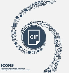 File GIF icon in the center Around the many vector image