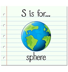 Flashcard letter S is for sphere vector