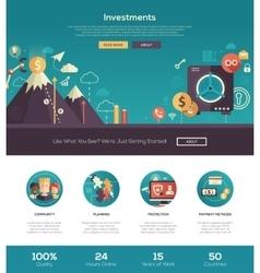Flat design investments website header banner vector