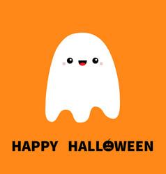 Flying ghost spirit happy halloween boo cute vector