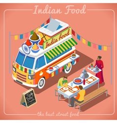 Food Truck 02 Vehicle Isometric vector image