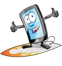 fun smartphone character cartoon on surfboard vector image