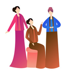 Girls woman wearing kebaya traditional costume of vector