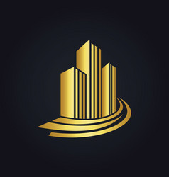 Gold building cityscape logo vector