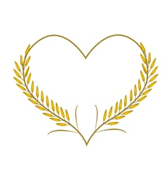 Golden rice or jasmine rice in a heart shape vector