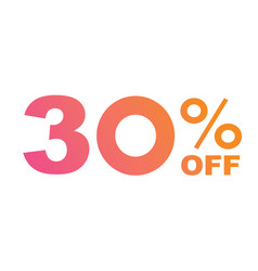 gradient pink to orange thirty percent off vector image