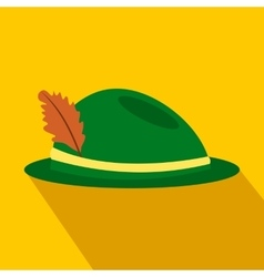 Green hat with a feather flat icon vector image