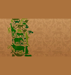 green wild animal icon recycled paper background vector image