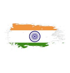 grunge brush stroke with india national flag vector image