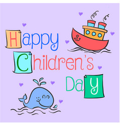 Happy childrens day hand draw vector