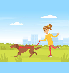 Happy girl walking with her dog outdoors kid vector