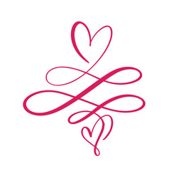 Heart love sign logo design flourish element for vector