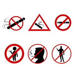 icon set do not smoke vector image
