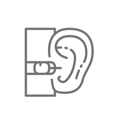 Internal hearing aid line icon isolated on white vector