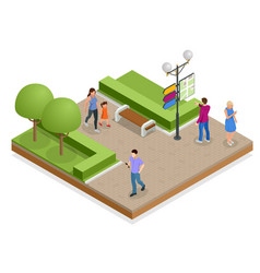 Isometric town map with gps navigation mobile vector