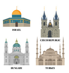 Israel hungary turkey and czech republic travel vector