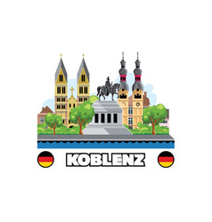 koblenz city skyline with cityscape monuments vector image
