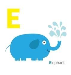 letter e elephant zoo alphabet english abc vector image