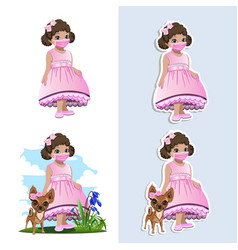 Little girl in a protective mask vector
