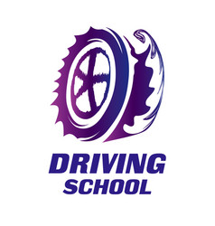 Logo of driving school car and mechanic vector
